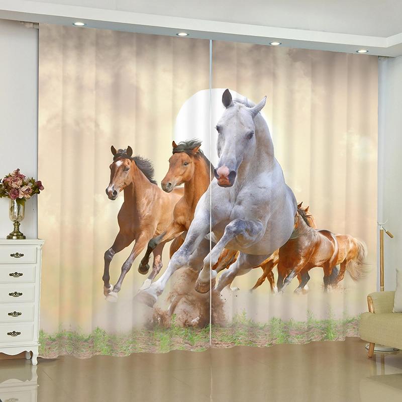 3D animaux série rideaux pour fenêtre animaux monde lion cheval stores finis rideaux fenêtre rideaux occultants salon chambre stores