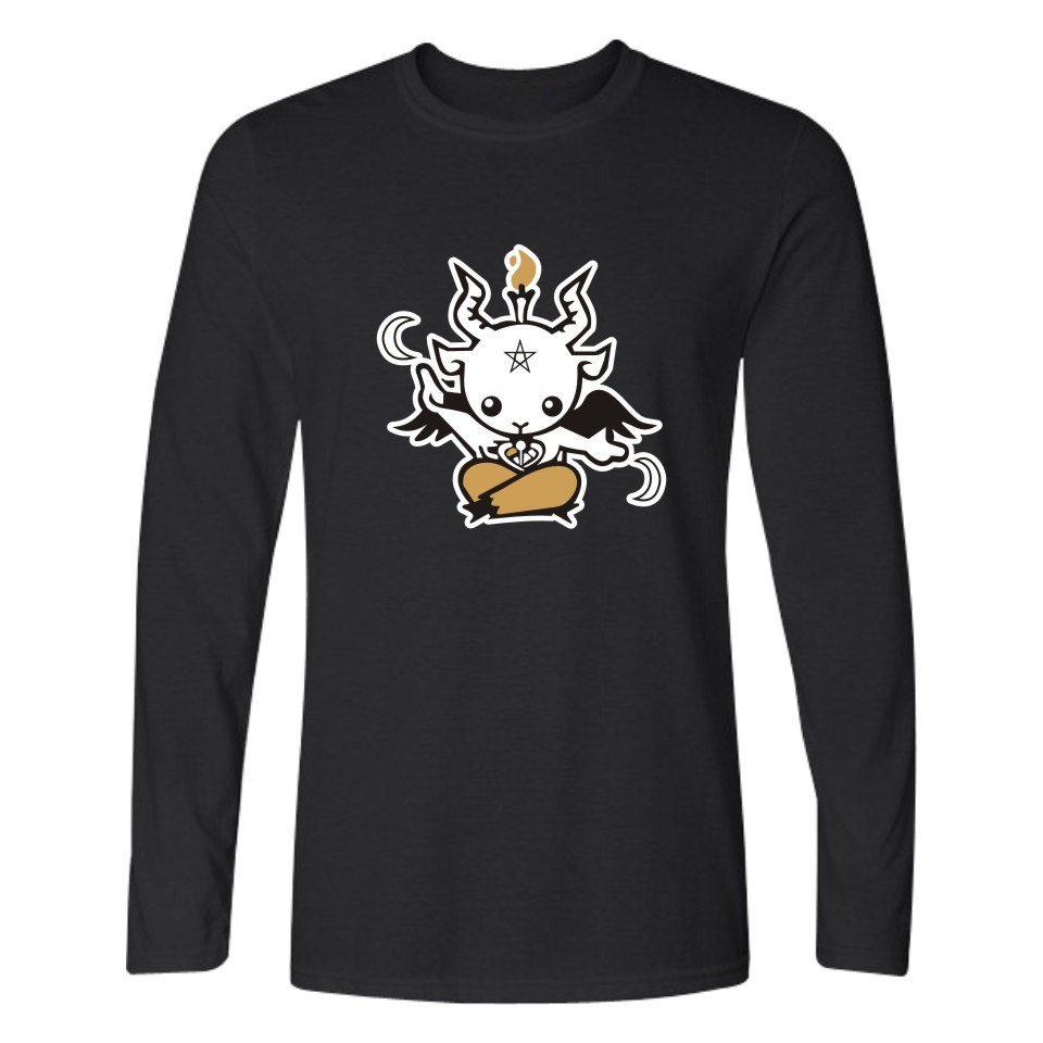 Satan T-shirts Long Sleeve T Shirts And TeeShirt Men Devil Print In XXS To 4XL Fashion and All-match Casual Long T-shirt Men