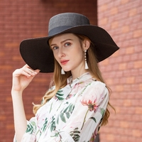 Summer Women Hats Wide Brim Straw Hat Female Sunscreen Cap Black Bow Knot Large Sunscreen Gorras Sombreros Mujer Verano B 8277