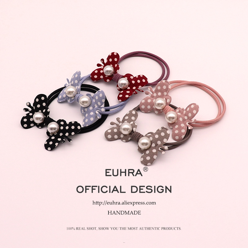 EUHRA 5 Colors Cute Dot Pearl Shape Double Butterfly For Women Elastic Hair Bands Kid Children Rubber High Elasticity
