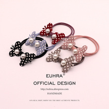 EUHRA 5 Colors Cute Dot Pearl Shape Double Butterfly For Women Elastic Hair Bands Kid Children Rubber Bands High Elasticity накладной светильник lightstar paro 360672