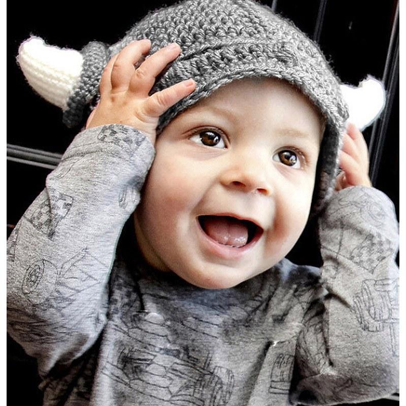 Handmade Baby Kids Bonnet Baby Crochet Winter Hat Cartoon Children Toddler Viking Horns Knitted High Quality