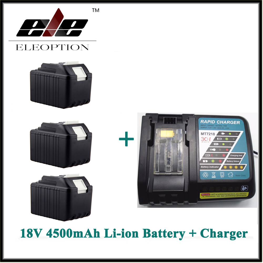 4.5Ah Eleoption 3x Rechargeable Power Tool battery for Makita 4500mAh 18V Li-ion BL1830 LXT400 194205-3 BL1840 Battery + Charger