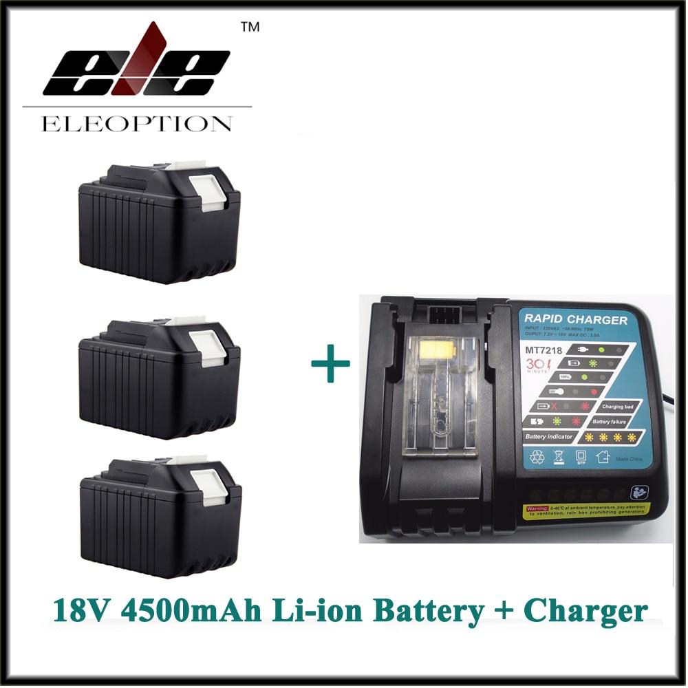 4.5Ah Eleoption 3x Rechargeable Power Tool battery for Makita 4500mAh 18V Li-ion BL1830 LXT400 194205-3 BL1840 Battery + Charger power tool rechargeable battery charger for makita dc18rc li ion battery rapid 9a charger bl1415 bl1430 bl1815 bl1830