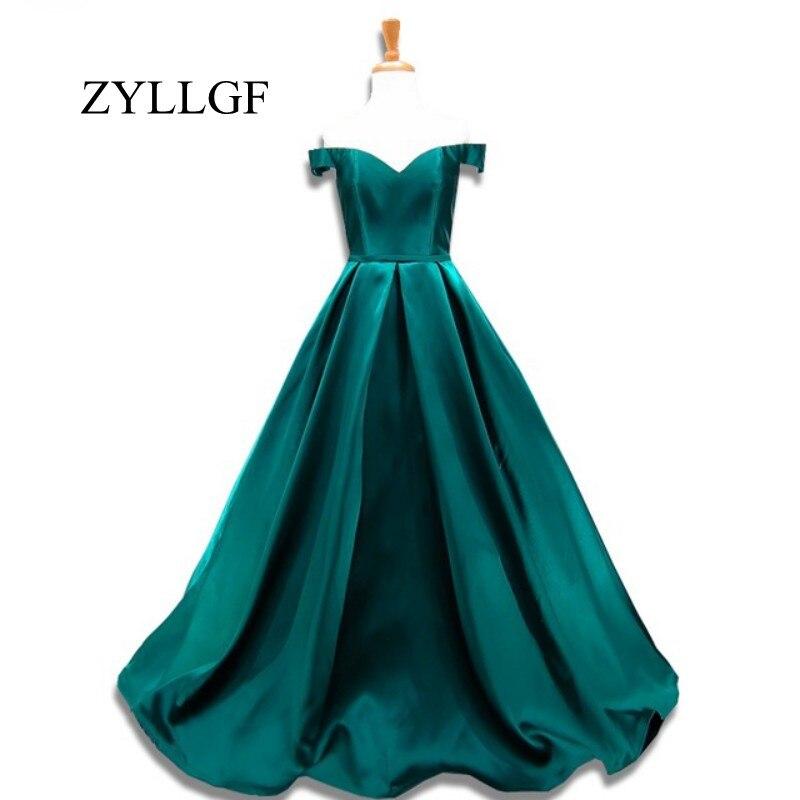 ZYLLGF Длинные вечерние платья 2019 А-силуэт с открытыми плечами Милая Корсет сзади изумрудно-зеленый атлас платье для выпускного вечера RS88