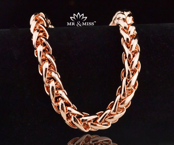 Customized 7mm Wide Trendy Men/ Women Bracelet Wheat Popcorn Chain 18K Rose Gold Filled RB25 - Mr&Miss(J&L storeJewelry )