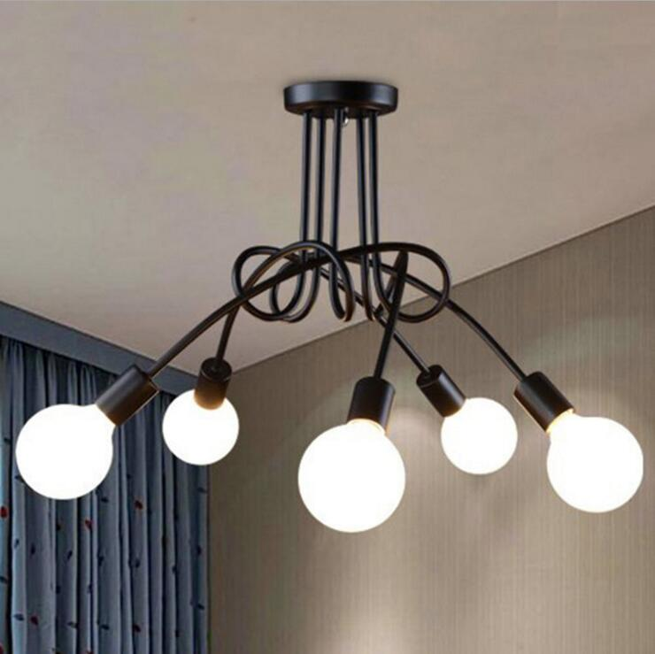 Retro industrial wind iron bend pipe chandelier living room restaurant bedroom lamp iron personality simple five chandeliers modern fashion simple iron industrial wind pentagonal star chandelier hall corridor living room bedroom chandelier page 5