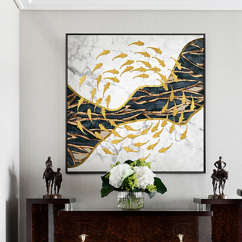 Abstract Black and White Golden Fish River Creative Canvas Painting Wall Art For Living Room Dining Room Home Decor ChineseHD ...