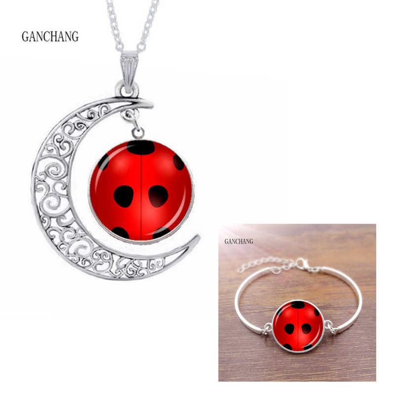 2 ชิ้น/เซ็ต magic ladybug สร้อยข้อมือสร้อยคอ Lady Bug & Black Cat ป้ายกระจกหญิงชุดเครื่องประดับทิเบตเงิน