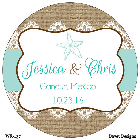 50 Pieces Custom Wedding Stickers Labels Sea Shell Beach Clic Round Sticker Personalized Name And