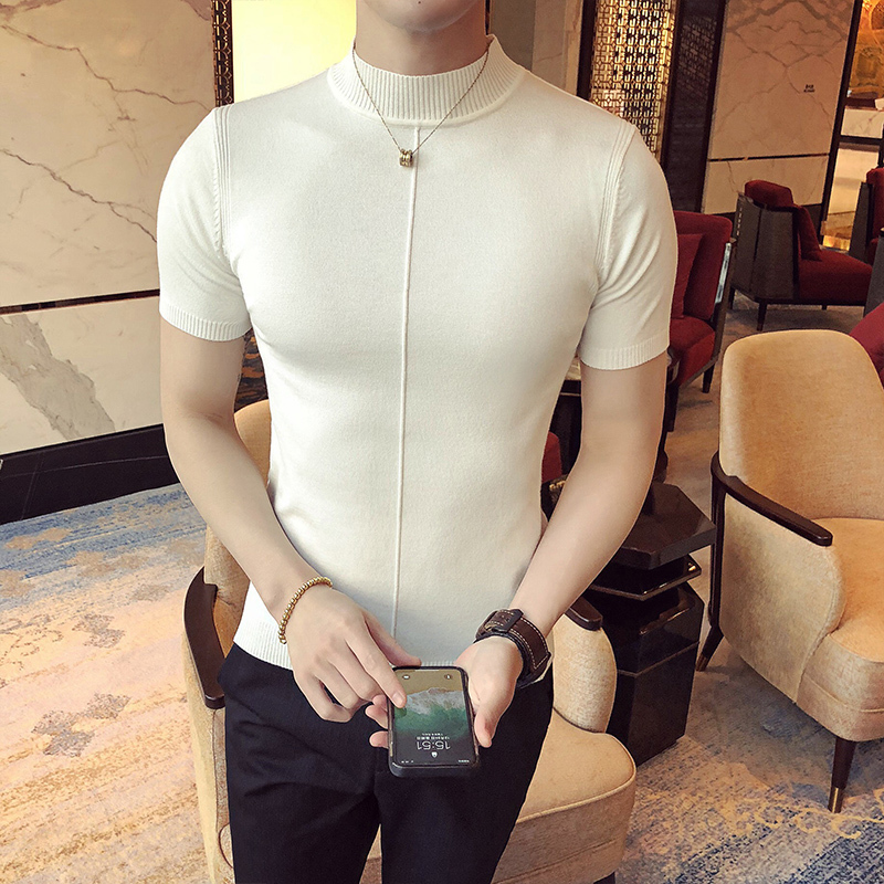 Image 2 - Casual Self cultivation High Lead Neck Knitting Men Sweater 2018 Autumn Leisure Long Sleeve Warm Solid Color Male Pullover M 3XL-in Pullovers from Men's Clothing