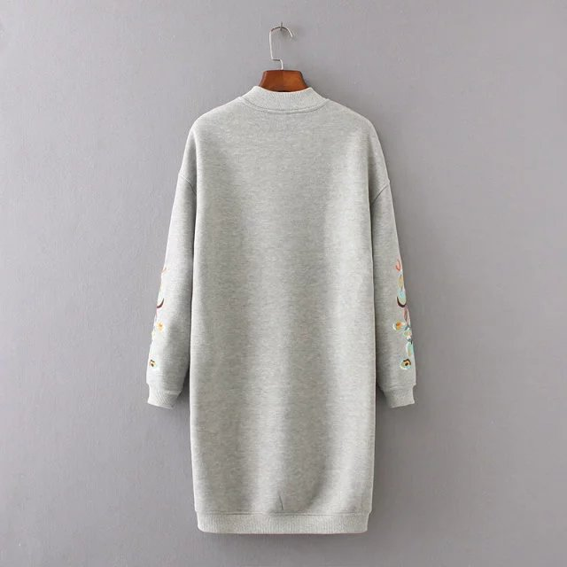 Embroidery Long Sleeve Loose Sweatshirt Dress 4