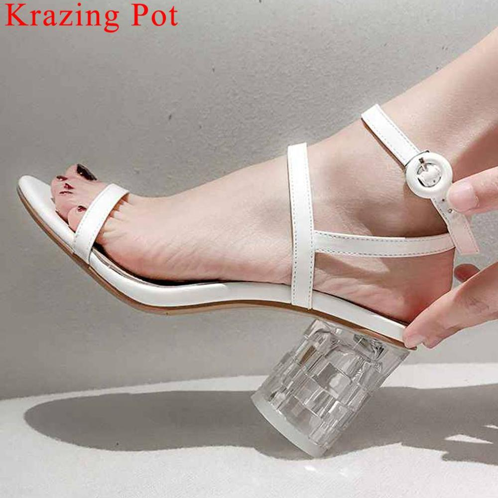 Krazing Pot superstars crystal high heels women sandals peep toe buckle strap slingback sexy nightclub queen runway shoes L25Krazing Pot superstars crystal high heels women sandals peep toe buckle strap slingback sexy nightclub queen runway shoes L25