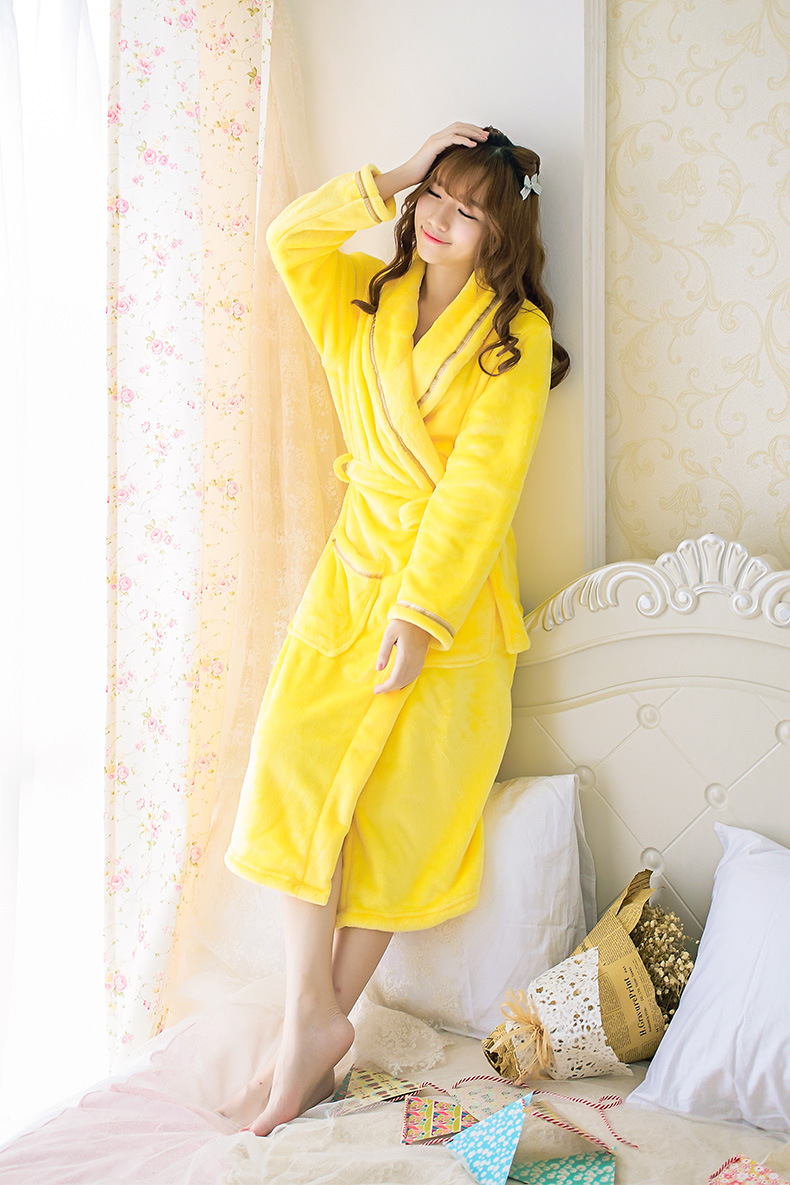 14cb9de0c15d Adult Women Pikachu Yellow Solid bathrobes Lady Girls Winter Soft Warm  Robes Sexy Sleepwear Pajamas Pyjamas Tracksuit nightdress-in Robes from  Underwear ...
