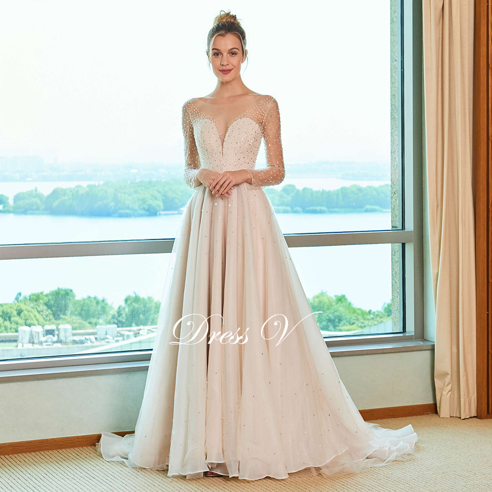 Dressv Scoop Neck Wedding Dress A Line Long Sleeves Liques Sequins Lace Floor Length Bridal