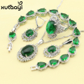 Fashion Sterling Silver Overlay Jewelry Sets For Women Green Created Emerald Smooth Necklace Rings Earrings Bracelet