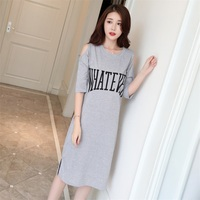Summer Off shoulder Grey Nightgown Women Loose Patchwork Lingerie Dress Lace Sleepwear Sleepshirts AD359