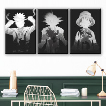 3 Piece Goku Luffy and Naruto Cartoon Pictures Black White Paintings Dragon Ball One Anime Poster Wall