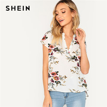 a28473ab68b SHEIN Bohemian White V-cut Neck Dip Hem Floral Top Batwing Short Sleeve Blouse  Women Summer 2019 Casual Tops and Blouses