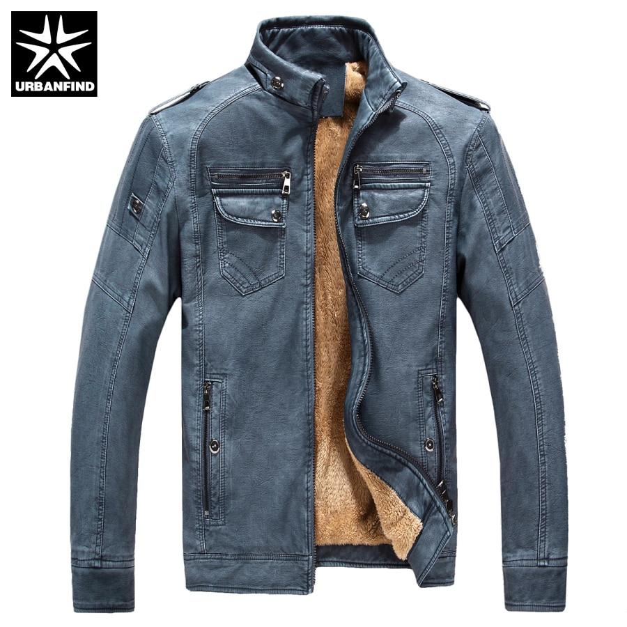 URBANFIND PU Leather Men Fashion Jackets Size M-3XL Stand Collar Man Winter Coats Fleece Inside Design Male Warm Jackets мужской пуховик brand new m 3xl men warm coats