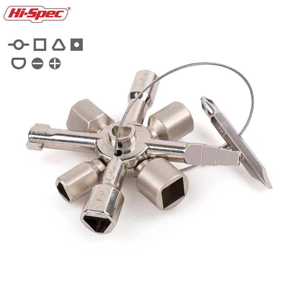 Hi-Spec 10 in 1 Universal Cross Key Plumber Key Magnetic Triangle Square Wrench Radiators for Elevator Train Cabinet Multitool