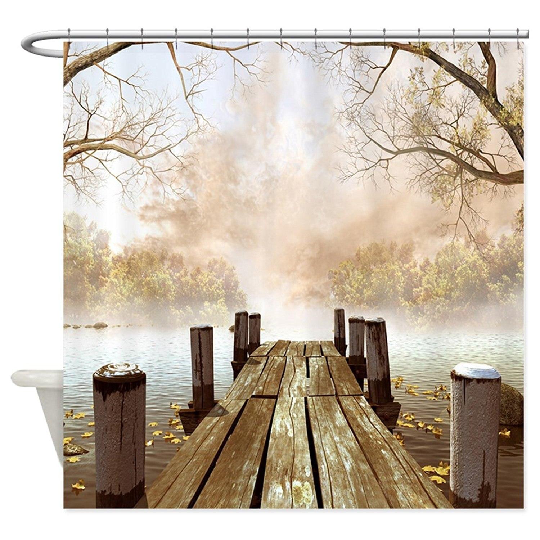 Hanhaoki осень деревянный Пирс душ Шторы 36 x 72