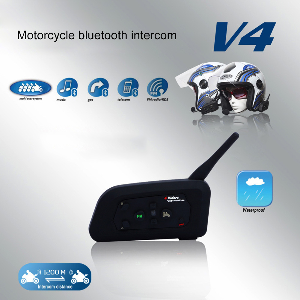 Vnetphone V4 Bluetooth Helmet Intercom Headset 1200M 4 Riders Motorcycle Wireless Interphone With FM Radio New CSL2017