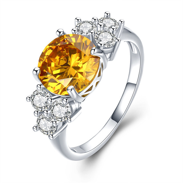SHUANGR White Gold Color Big Yellow Stone Rings for Women Engagement