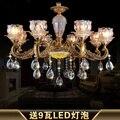 Европейская роскошная хрустальная люстра для гостиной столовой спальни американская ретро золотая светодиодная Хрустальная стеклянная л...