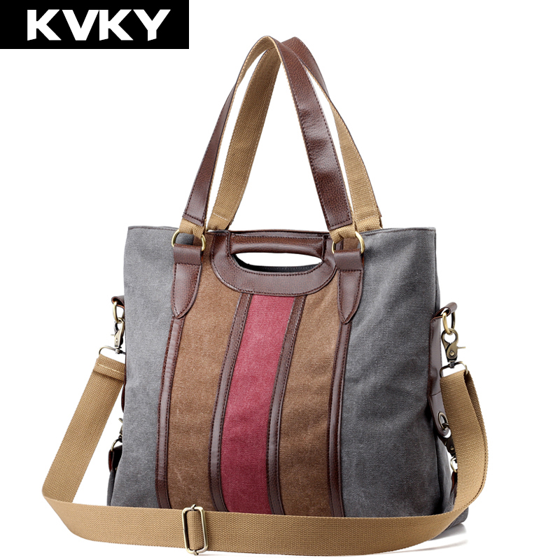 KVKY Vintage Canvas Women Handbags High Quality Ladies Shoulder Bag Patchwork Women Lady Bag Famous Brands Big Casual Tote Bolsa