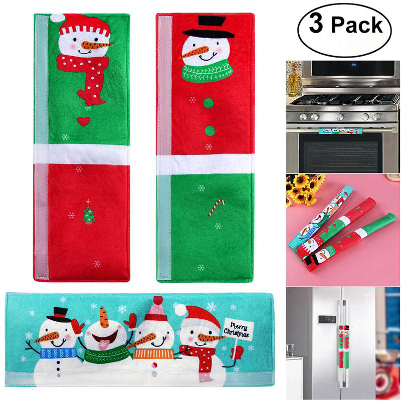 US $7.29 49% OFF|3PCS Christmas Refrigerator Door Handle Covers Microwave  Oven Dishwasher Kitchen Appliances Gloves Door Handle Cloth Protector-in ...