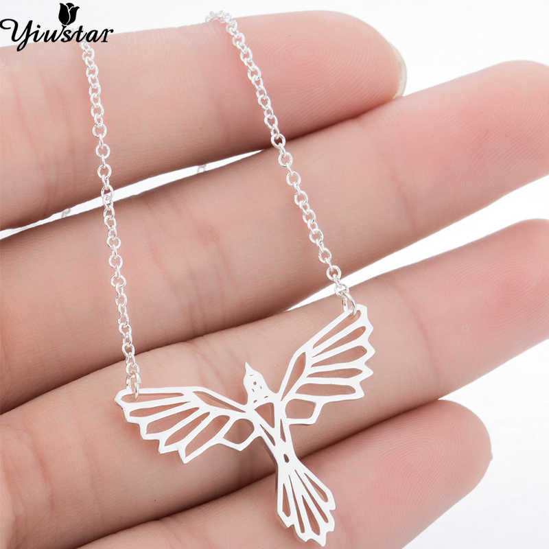 Yiustar Bird Jewelry Hollow Phoenix Pendant Necklaces Women Steel Color Long Chain Necklace Pendants Men Jewelry Collier Femme