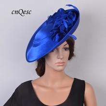 Дизайн высокого качества Королевский синий большой чародей плоская основа Кентукки Дерби шляпа для Свадебный церковный вечерние гонки