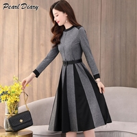 2019 Spring Dress Women A Line Dress Long Sleeve Knee Length Office Lady Elegant O Neck Women Dress Casual Slim Autumn Vestidos