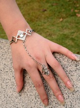 Adjustable Antique Silver Plated Hollow Bangle with Finger Ring Arm Cuff Bracelet