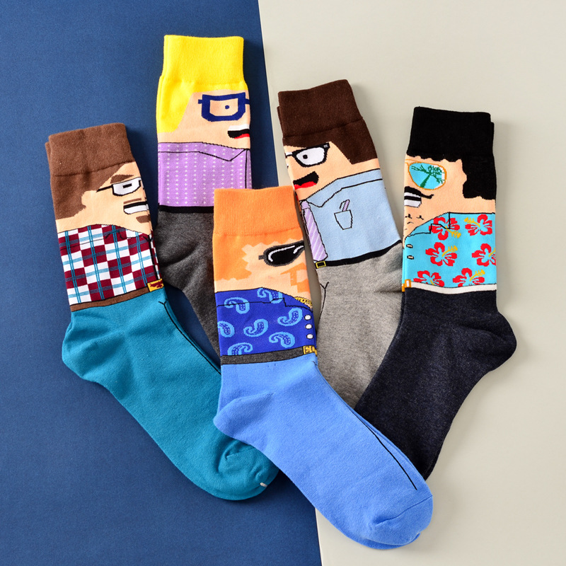 1 Pair New Summer Color Rush Cotton Fashion Long Happy Sock Art Jacquard Man Face Sock Quality Brand Novelty Portrait Funny Sock