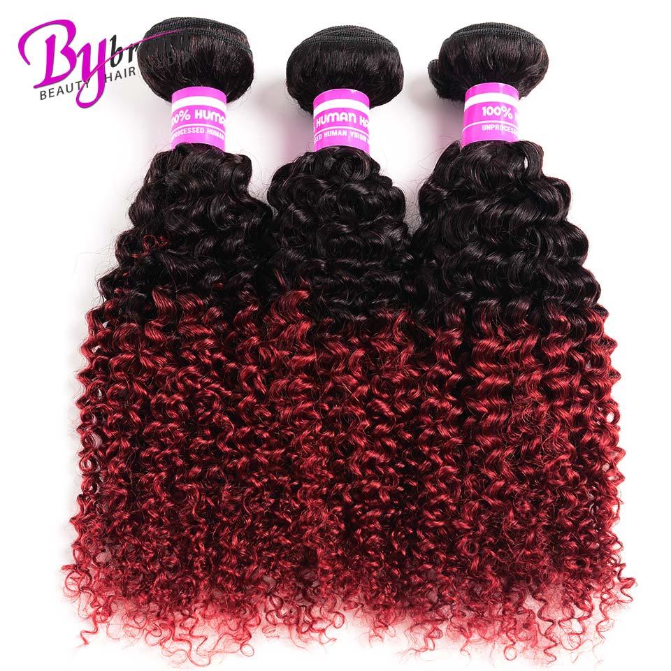 Hair Extensions & Wigs Generous Bybrana Ombre Brazilian Kinky Curly Hair Bundles 1b/burgundy Ombre Human Hair 3 Bundles Deal Red 99j Remy Hair Extensions Bright Luster Hair Weaves