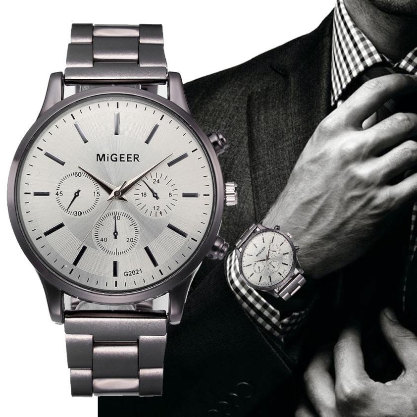 Watches Men Reloj Hombre Fashion Men Crystal Stainless Steel Quartz Wristwatch Fashion 2018 Silver Watch 18APR10