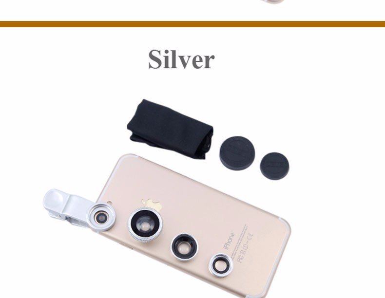 New Fish Eye lens,Wide Angle + Clear Macro Lens For Iphone 5s 6 7 Universal 3 in 1 Phone Camera Len For Sansung Huawei Sony HTC 20