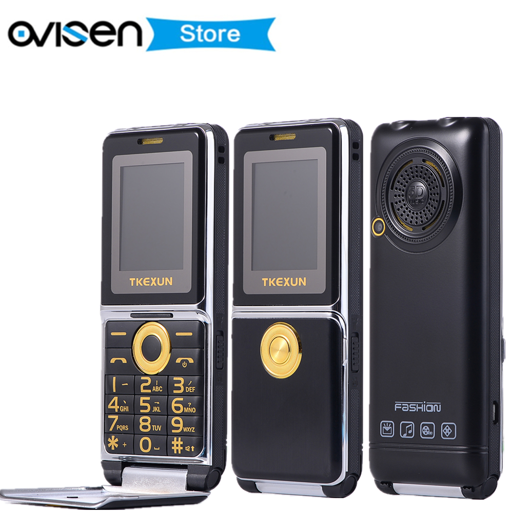 FSMART TKEXUN G6000 Flip Mobile Phone 1.8 Inch Dual SIM Quad Band GSM Flashlight SOS Quick Dial Big Russian keyboard Cell phones feature phone