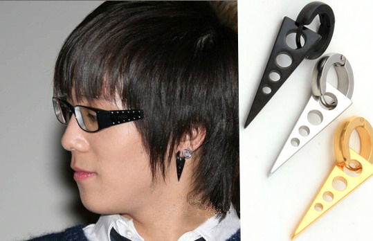 1 Piece Whole Anium Steel Silver Black Golden Long Triangle Trendy Cool Men Hoop Earrings