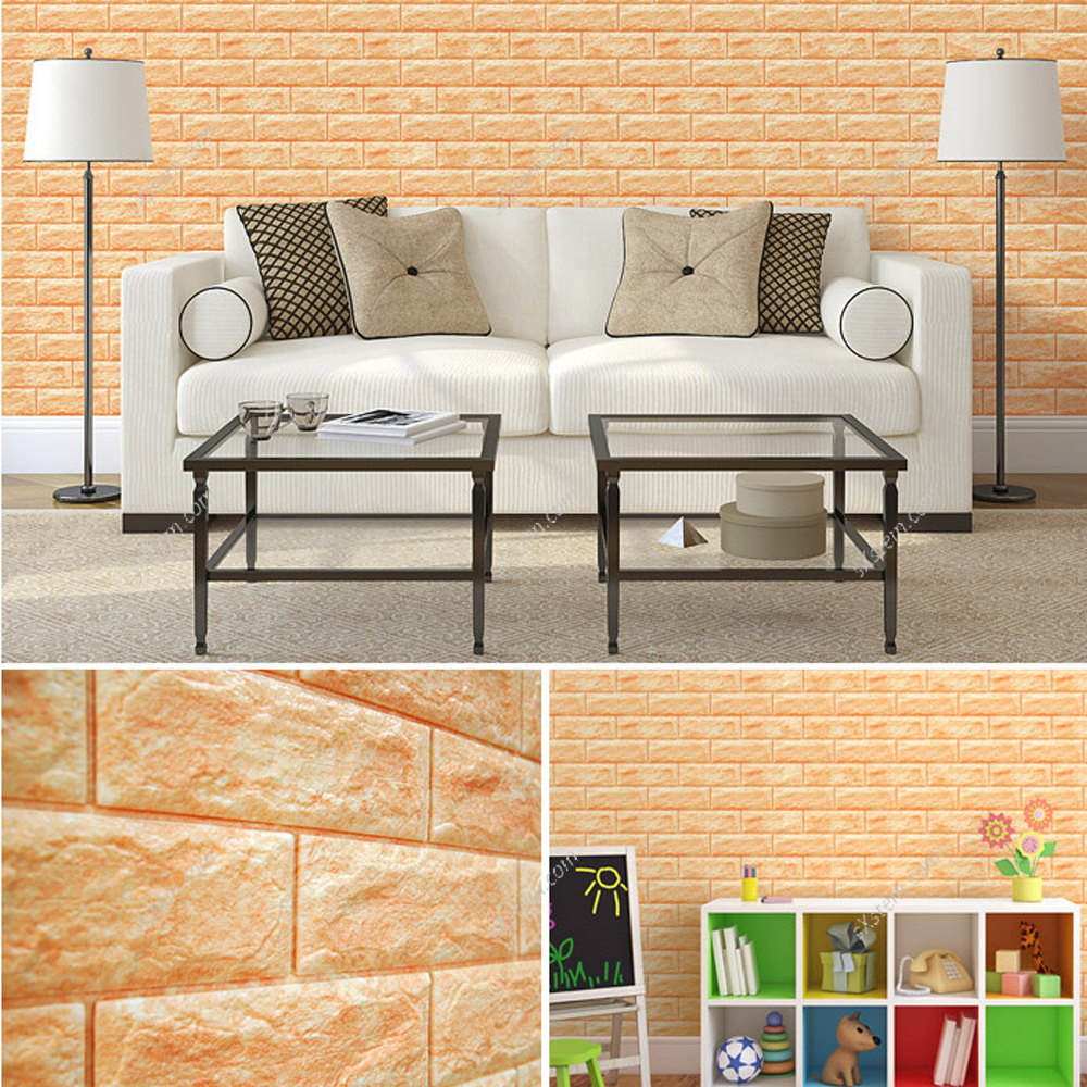yazi 3D Tile Wallpaper Black Stone Brick Wall Sticker Panel Thick ...