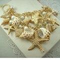 Mar Estilo Banhado A Ouro Big Starfish Conch Shell Colares & Pingentes de Colares Declaração de Cristal Gargantilha Para As Mulheres Presentes