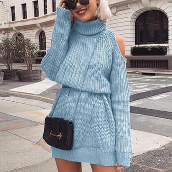 Danjeaner Autumn Winter Turtleneck Off Shoulder Knitted Sweater Dress Women Solid Slim Plus Size Long Pullovers Knitting Jumper 1