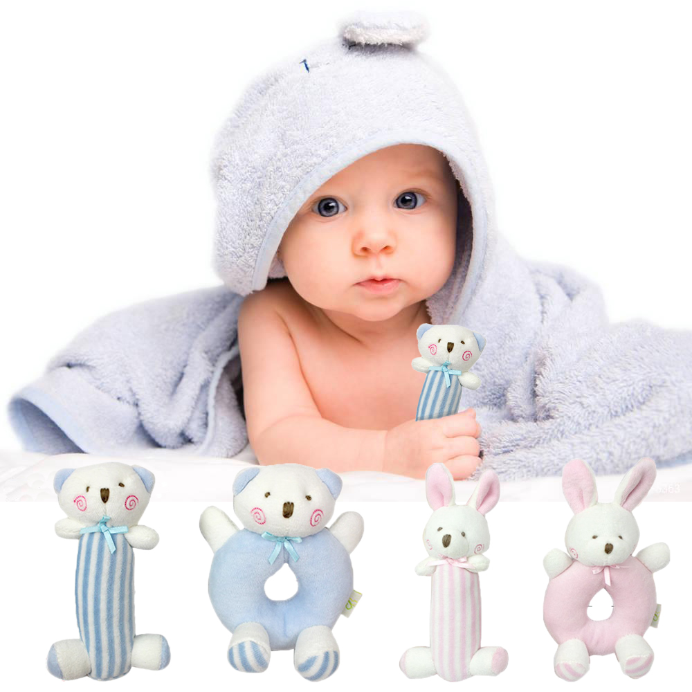 Baby Cartoon Rabbit Bear Plush Rattle Ring Bell Newborn Hand Grasp rattle stuffed Toys Soft Mobile toy Infant Crib Dolls peluche