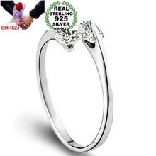 OMHXZJ Wholesale Fashion Simple Branch AAA Zircon diamond 925 Sterling Silver open adjust female for Woman Man Ring Gift RG04