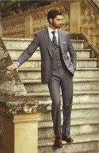 New Dark Gray Groom Tuxedos 2015 Office Suit Fit Slim Formal Party Evening Groomsman/Men Suits (Jacket+Pants+vest+tie)