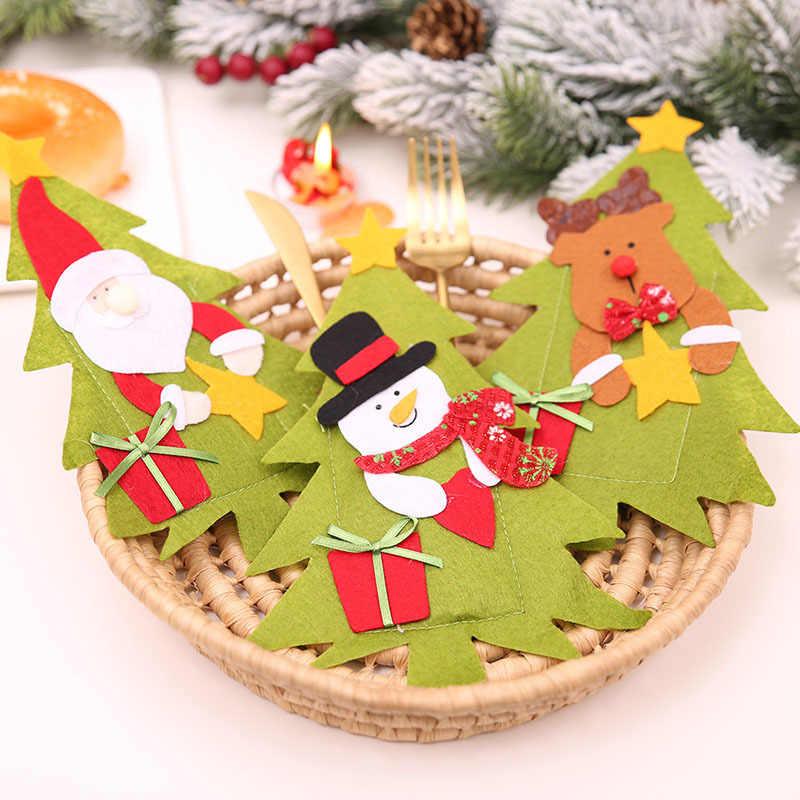 Cappello da babbo natale Renna Di Natale Nuovo Anno di Tasca Coltello Forchetta Posate Holder Sacchetto di Festa A Casa Tavolo Da Pranzo Decorazione Da Tavola 62249