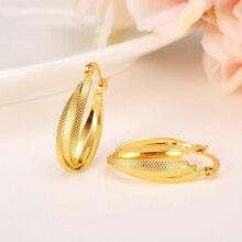 Трендовые серьги для женщин 24K желтое твердое золото GF ювелирные изделия арабский Ближний Восток Африка индийский бразильский Дубай ювелирные изделия