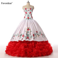 Favordear Flowers Sweetheart Floor Length Ball Gown Vestidos Quinceanera Tiered Ruffles Quinceanera Dress Special Occasion